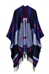 Both Sides Color Block Fringe Shawl Poncho For Women Navy Blue