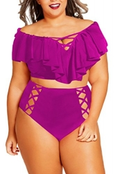 Women Sexy Ruffle Cross String Hollow Out 2Pcs Swimsuit Purple