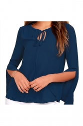 Tie Neck Split Flare Long Sleeve Blouse Blue