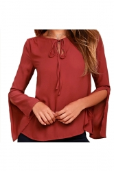 Tie Neck Split Flare Long Sleeve Blouse Dark Red