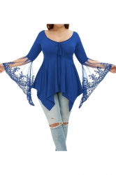 Plus Size Lace Patchwork Butterfly Sleeve Tunic Shirt Blue