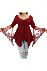 Plus Size Lace Patchwork Butterfly Sleeve Tunic Shirt Ruby