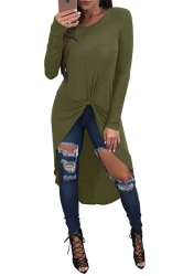 Women High Low Knot Long Sleeve Crew Neck Shirt Army Green
