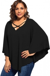 Plus Size Batwing Sleeve V Neck Cross String T-Shirt Black