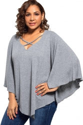 Plus Size Batwing Sleeve V Neck Cross String T-Shirt Gray