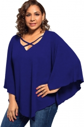 Plus Size Batwing Sleeve V Neck Cross String T-Shirt Sapphire Blue