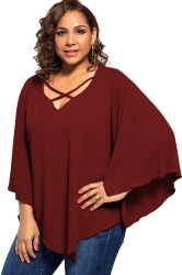 Plus Size Batwing Sleeve V Neck Cross String T-Shirt Ruby