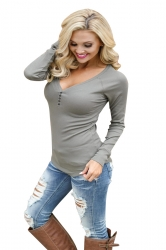 Women Sexy V-Neck Buttoned Front Long Sleeve Plain T-Shirt Dark Gray