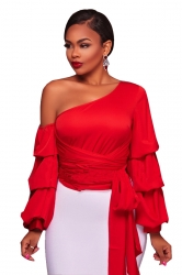 Womens Sexy Bandage Lantern Sleeve Clubwear One Shoulder Top Red