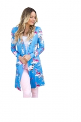 Womens Kimono Long Sleeve Pockets Floral Printed Trench Coat Blue