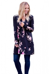 Womens Kimono Long Sleeve Pockets Floral Printed Trench Coat Black