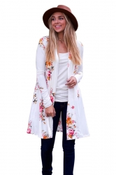 Womens Kimono Long Sleeve Pockets Floral Printed Trench Coat White