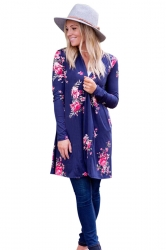 Womens Kimono Long Sleeve Pockets Floral Printed Trench Coat Navy Blue