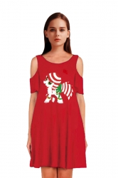 Womens Cold Shoulder Horse Printed A-Line Christmas Dress Dark Red
