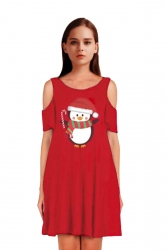 Womens Cold Shoulder Penguin Printed A-Line Midi Christmas Dress Ruby