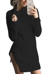 Womens High Collar Long Sleeve Slit Knit Plain Sweater Dress Black