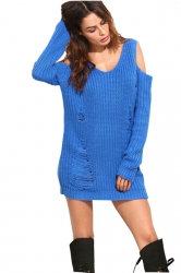 Womens V-Neck Cold Shoulder Long Sleeve Plain Pullover Sweater Blue