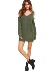 Womens V-Neck Cold Shoulder Long Sleeve Plain Pullover Sweater Black