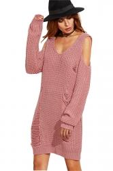 Womens V-Neck Cold Shoulder Long Sleeve Plain Pullover Sweater Pink
