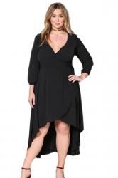 Womens V-Neck Plus Size Ruffle High Low Bandage Evening Dress Black