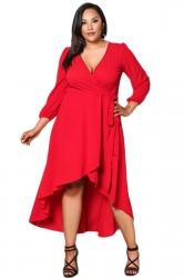 Womens V-Neck Plus Size Ruffle High Low Bandage Evening Dress Red