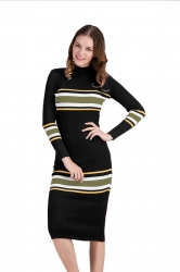 Womens Crew Neck Long Sleeve Midi Length Stripes Sweater Dress Black