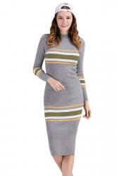 Womens Crew Neck Long Sleeve Midi Length Stripes Sweater Dress Gray