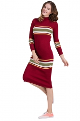 Womens Crew Neck Long Sleeve Midi Length Stripes Sweater Dress Red
