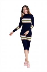 Women Crew Neck Long Sleeve Midi Length Stripe Sweater Dress Navy Blue