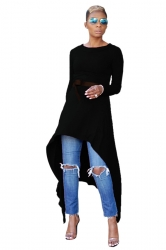 Womens Belt Crew Neck Asymmetrical Hem Plain Long Sleeve Dress Black
