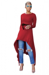 Womens Belt Crew Neck Asymmetrical Hem Plain Long Sleeve Dress Ruby