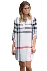 Womens V-Neck Long Sleeve Button Plaid Shirt Dress Apricot