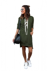 Womens Lace Up Pockets Slit Plain Long Sleeve Hoodie Dress Army Green