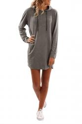 Womens Drawstring Hooded Plain Long Sleeve Dress Gray