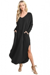 Womens V-Neck Slant Porket Slit Oversized Plain Maxi Smock Dress Black