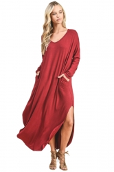 Womens V-Neck Slant Porket Slit Oversized Plain Maxi Smock Dress Red