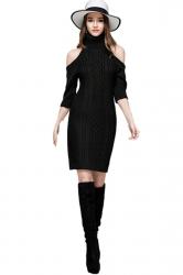 Womens Elegant Polo Neck Cold Shoulder Knit Plain Sweater Dress Black