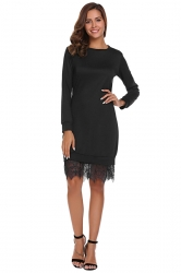 Womens Fashion Lace Hem Plain Sweatshirt Long Sleeve Dress Black