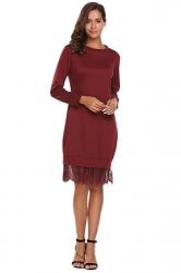 Womens Fashion Lace Hem Plain Sweatshirt Long Sleeve Dress Ruby