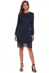 Womens Fashion Lace Hem Plain Sweatshirt Long Sleeve Dress Navy Blue