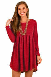 Womens Casual Crew Neck Oversized Pleated Long Sleeve Dress Red