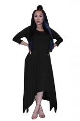 Womens 3/4 Length Sleeve Asymmetrical Hem Maxi Plus Size Dress Black