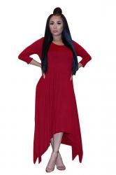 Womens 3/4 Length Sleeve Asymmetrical Hem Maxi Plus Size Dress Red