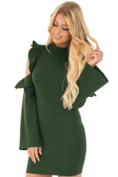 Cold Shoulder Ruffle Long Sleeve Back Zipper Bodycon Dress Army Green