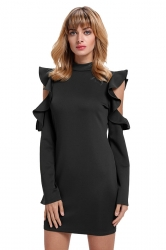 Womens Cold Shoulder Ruffle Long Sleeve Zipper Bodycon Dress Black