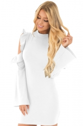 Women Cold Shoulder Ruffle Long Sleeve Zipper Bodycon Dress White