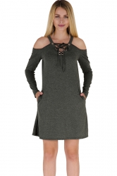 V-Neck Lace Up Cold Shoulder Pocket Long Sleeve Dress Dark Green