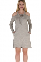 V-Neck Lace Up Cold Shoulder Pocket Long Sleeve Dress Light Gray