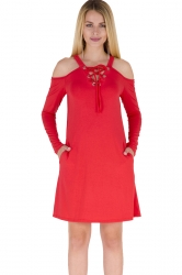 V-Neck Eyelet Lace Up Cold Shoulder Pocket Long Sleeve Dress Red