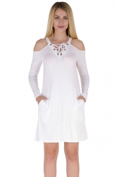 V-Neck Eyelet Lace Up Cold Shoulder Pocket Long Sleeve Dress White